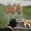 Скара за барбекю- риба, месо, зеленчуци, Тройна, Метална, Дървена дръжка